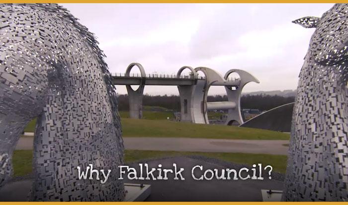 video background image of The Kelpies and the Falkirk Wheel